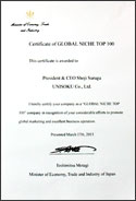 Award certificate (English)
